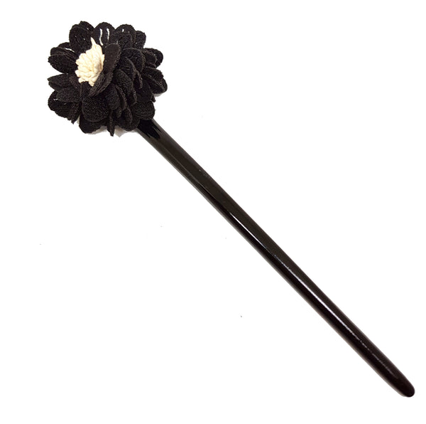 BLACK FLOWER HAIR BUN STICK