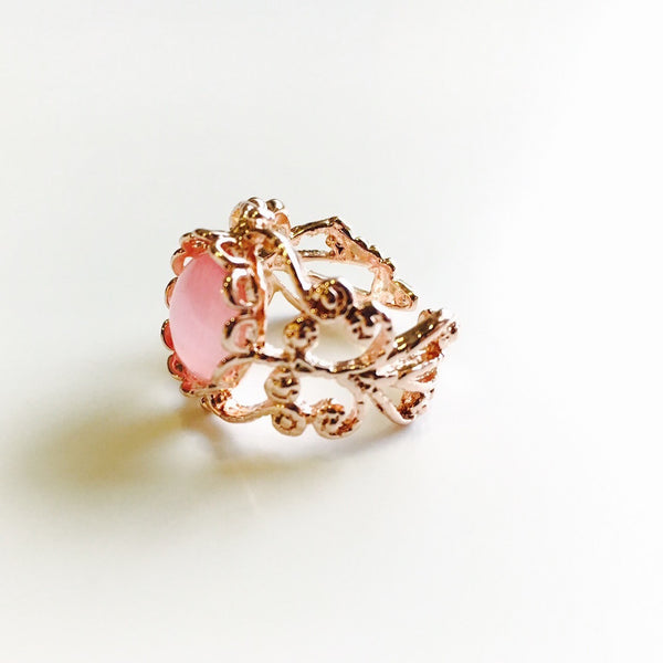 Blush Filigree Open Ring