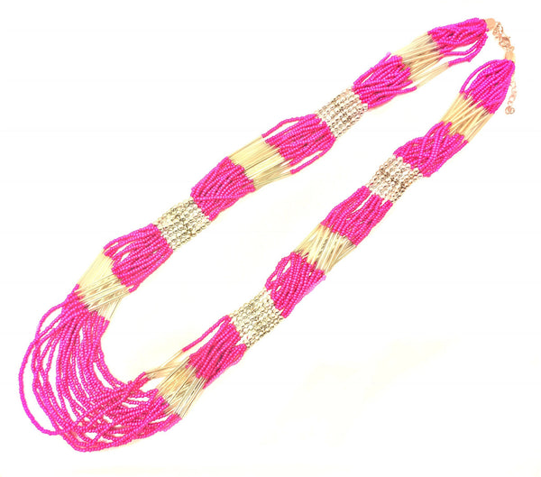 Boho Beaded Multilayer Pink & White Necklace