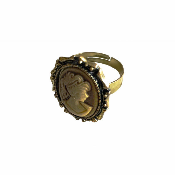 Cameo Ring Antique Gold/Beige Ring