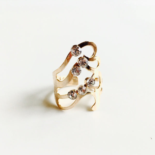 Cascade Wave Rose Gold Ring
