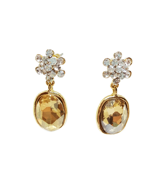 CITRINE STONE AND CRYSTAL FLOWER EARRING
