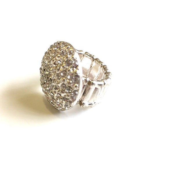 Cluster Crystal Button Stretch Ring