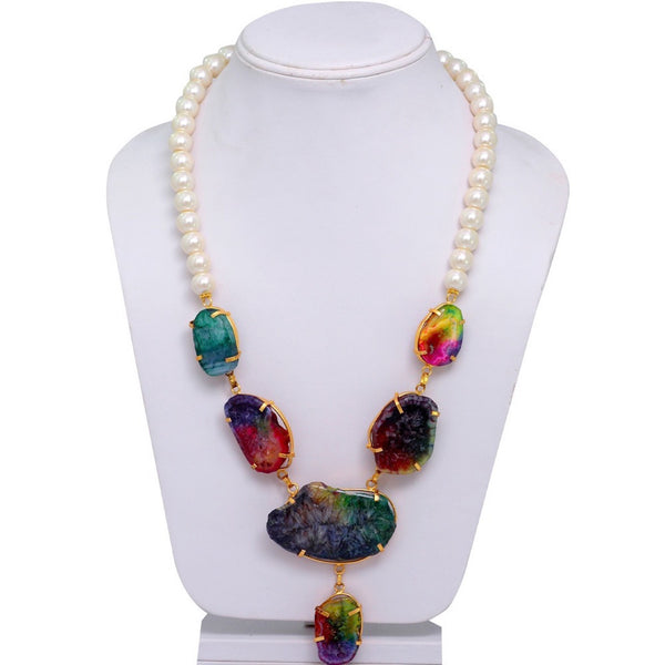 Colours Of Life Stone Necklace Pearl