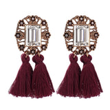COUNTESS DOUBLE TASSEL EARRINGS MAROON