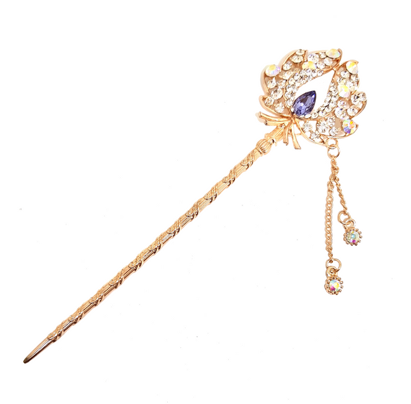 CRYSTAL AND ROSE GOLD FLORAL HAIR BUN STICK PURPLE