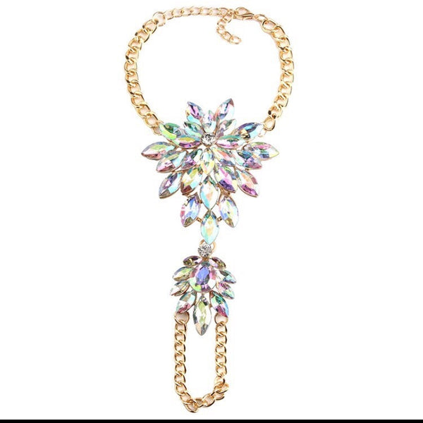 Crystal Dream Hand & Foot Harness- Gold & White