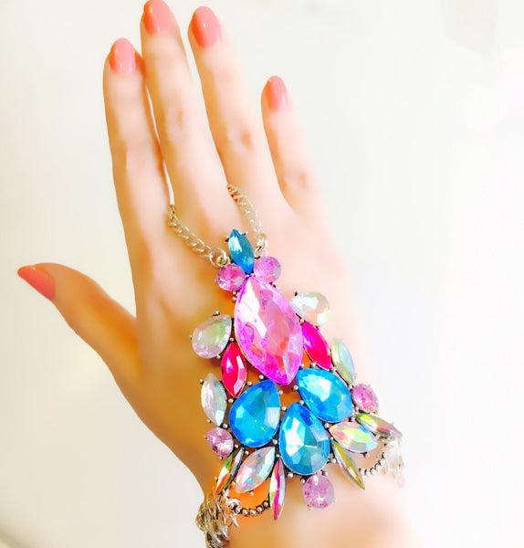 Crystal Dream Hand Harness Coloured & Silver