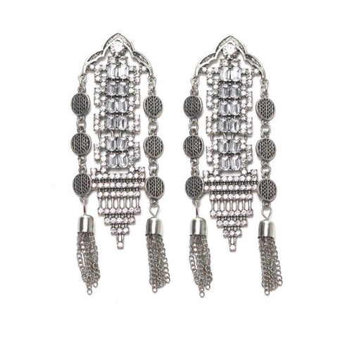 DANSESSUESE VINTAGE DANGLER EARRINGS SILVER