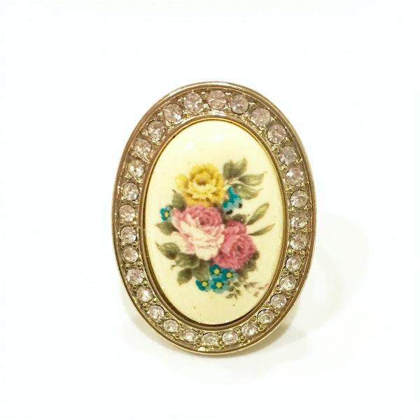 English Rose Handpainted Ring