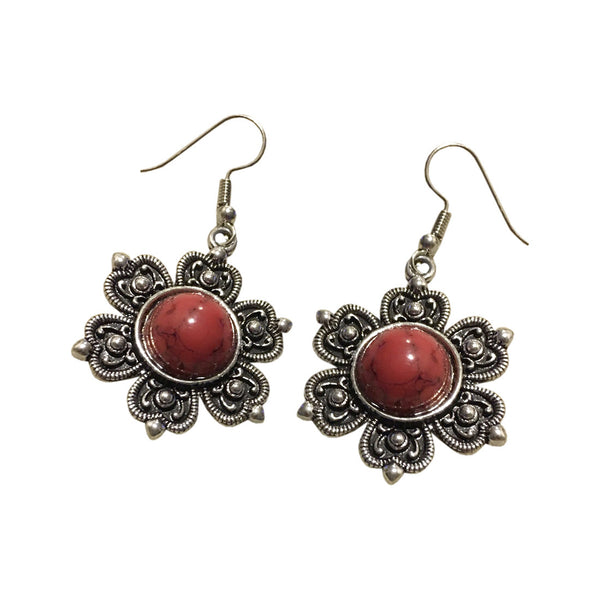 Ethnic Flora Mini Floral Earrings - Red