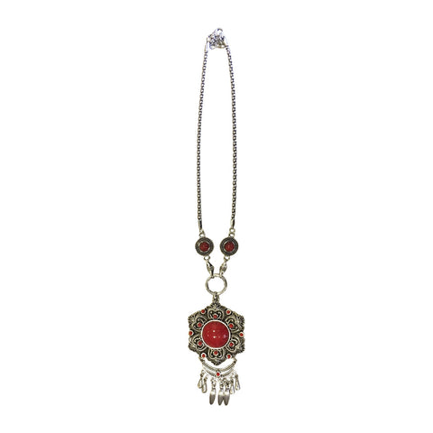 Ethnic Flora Pendant Necklace Red