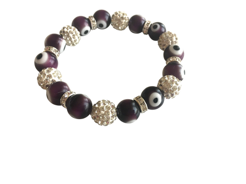 EVIL EYE CRYSTAL & ENAMEL STRETCH BRACELET PURPLE