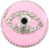 EVIL EYE ENAMEL CLICK BUTTON PINK