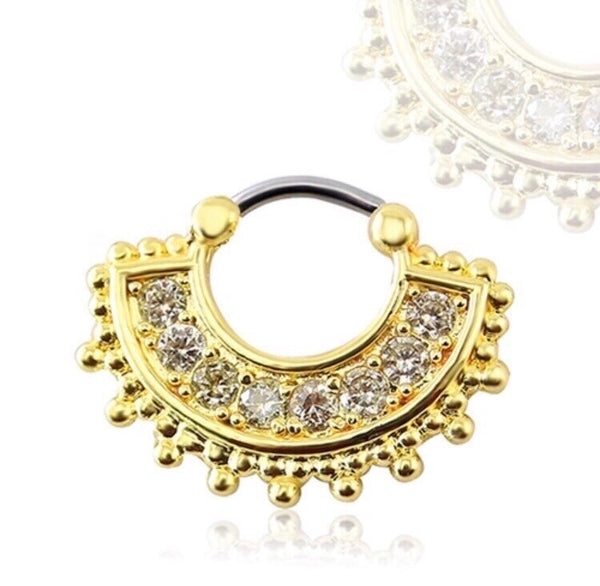 FAN STYLE NOSE PIN HOOP GOLD