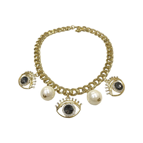 Evil Eye Statement Necklace Grey/Gold