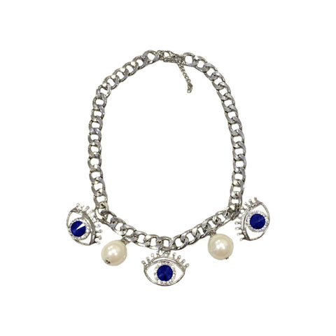 Evil Eye Statement Necklace Blue/Silver