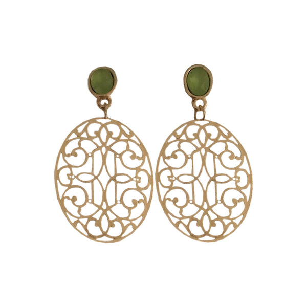 Filigree Princess Dangler Earrings - Leaf Green
