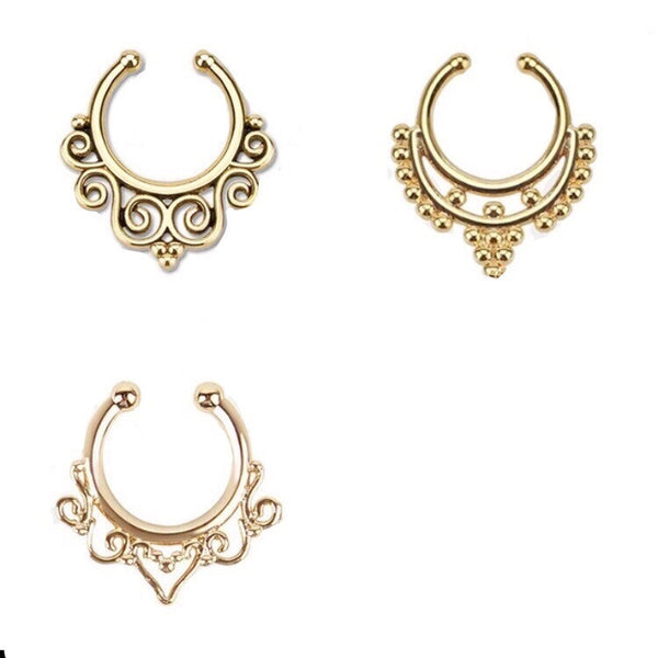 FILIGREE GOLD CLIP ON NOSE RINGS