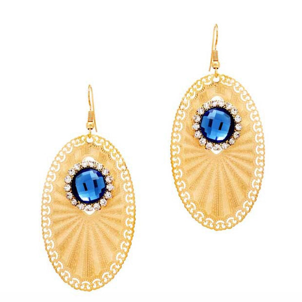 Filigree Ovoid Hook Dangler Earrings Blue