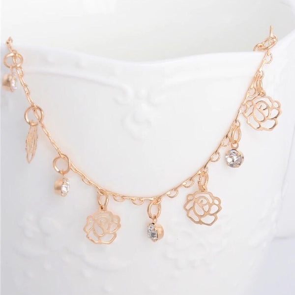 Filigree Rose & Stone Dangler Anklet