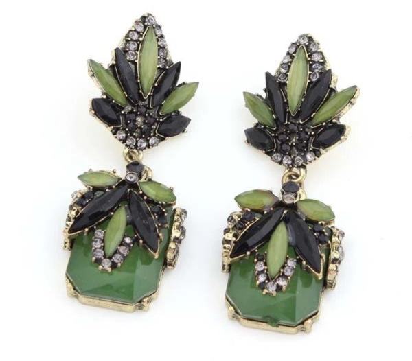 FLORA GREEN STONE AND CRYSTAL EARRINGS