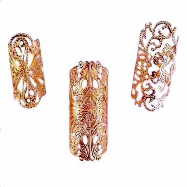 Florid Set Of 3 Rings Gold