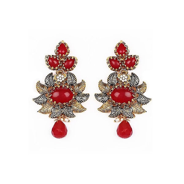 Flourish Stones & Crystal Earring Red