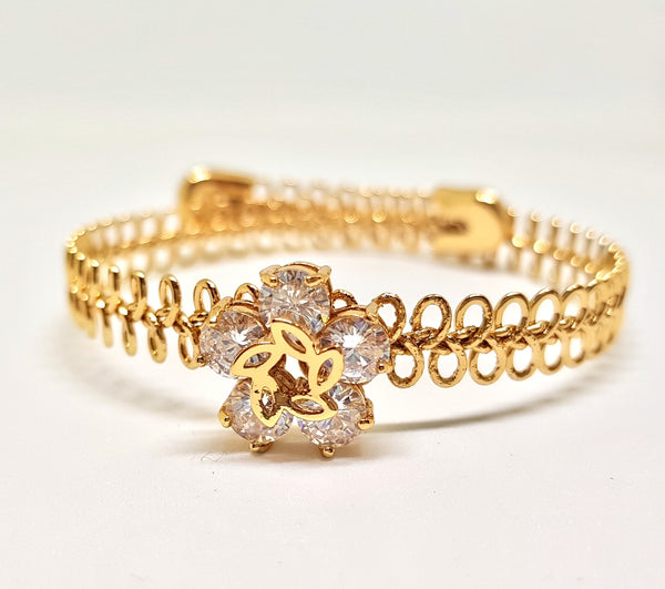 FLOWERS CRYSTAL & METAL GOLD BRACELET