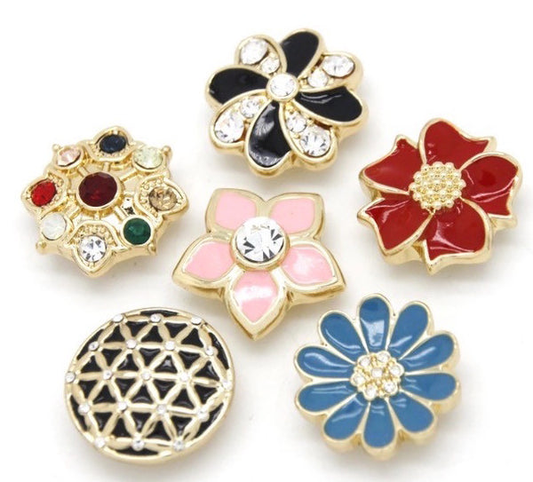 FLOWERY SET OF 6 BUTTONS