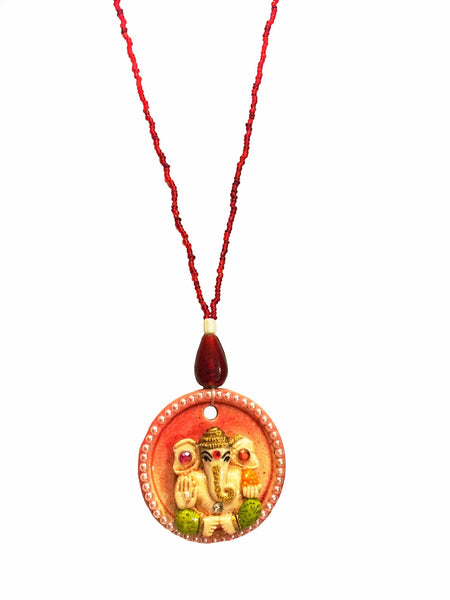 Ganesha Engraved Pendant Necklace - Red