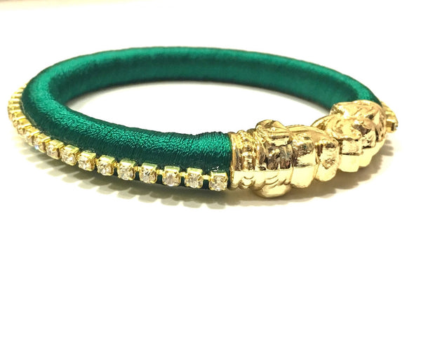 Green Silk Thread Kadda Bangle Single (Size: 2/2, 2/4, 2/6)