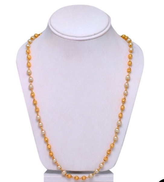 Gold Bead & Pearl Long Chain Necklace