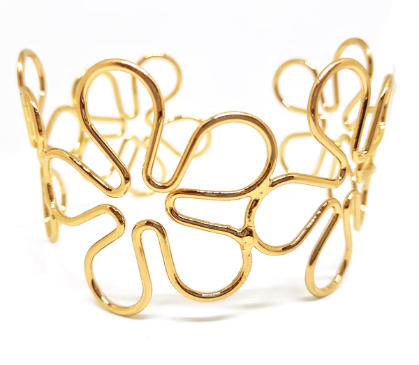 HOLLOW FLOWER ARMLET ARM BAND GOLD