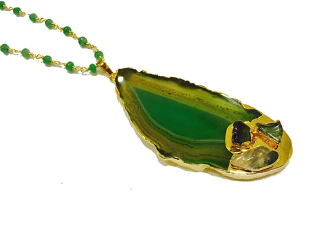 AGATE SLICE NECKLACE GREEN SHADED