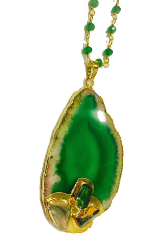 AGATE SLICE NECKLACE GREEN