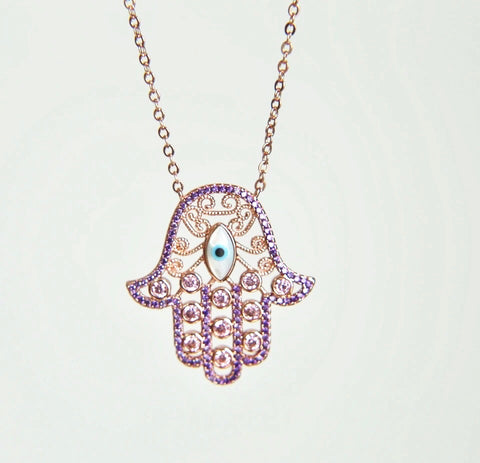 Paved Hamsa Hand Evil Eye Necklace - Purple