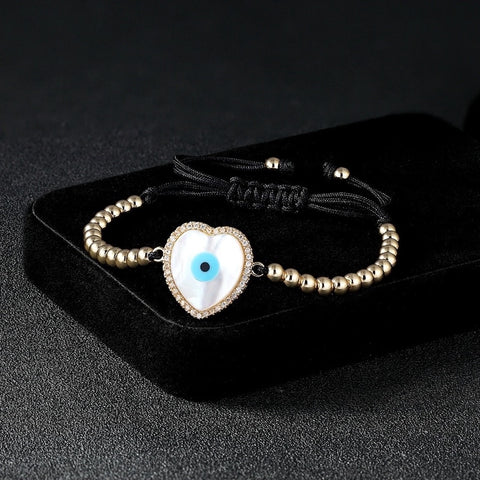 Natural Shell Adjustable Evil Eye Bracelet