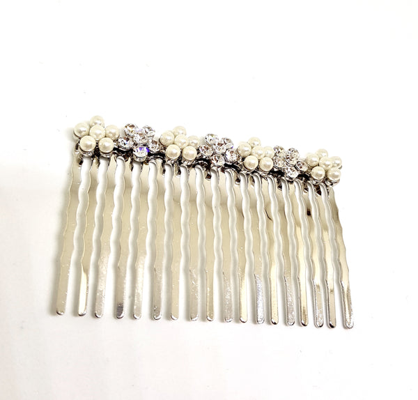 CRYSTAL AND PEARL FLOWER VINTAGE HAIR COMB