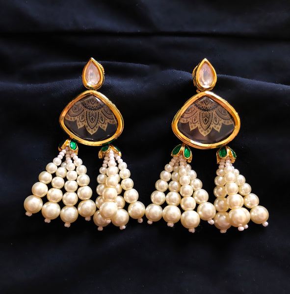 Jhoomar Kundan And Pearl Tassel Earrings
