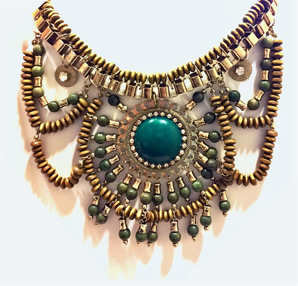 Jungle Queen Stone & Beaded Bib Necklace