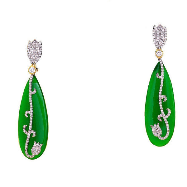 Kaanch Green Dangler Earrings