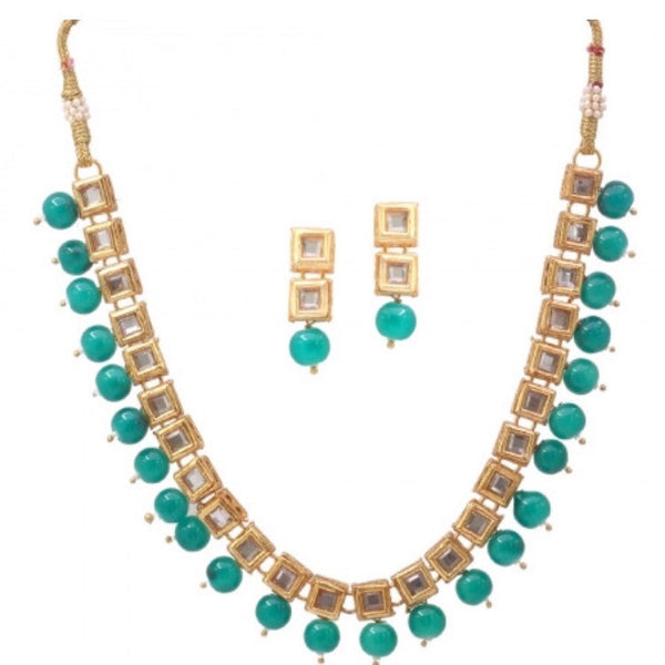 Kundan & Green Pearl Necklace Set
