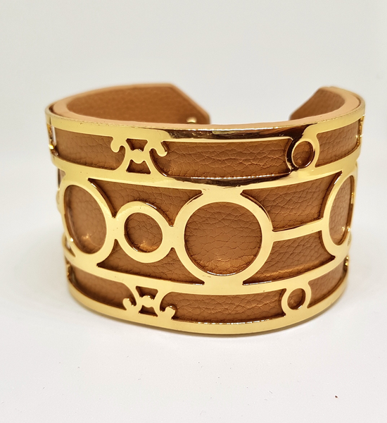 LAVISH FAUX LEATHER CUFF BROWN