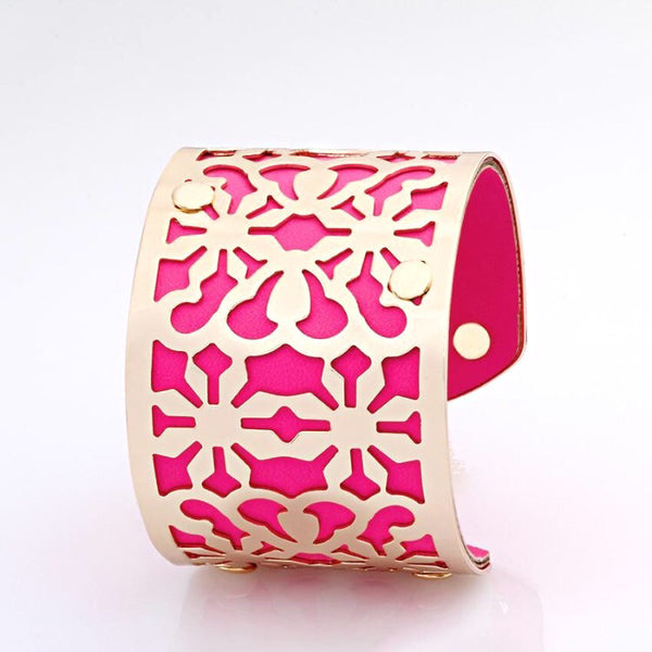 Lavish Cuff Mosaic Leather & Metal Cuff Hot Pink