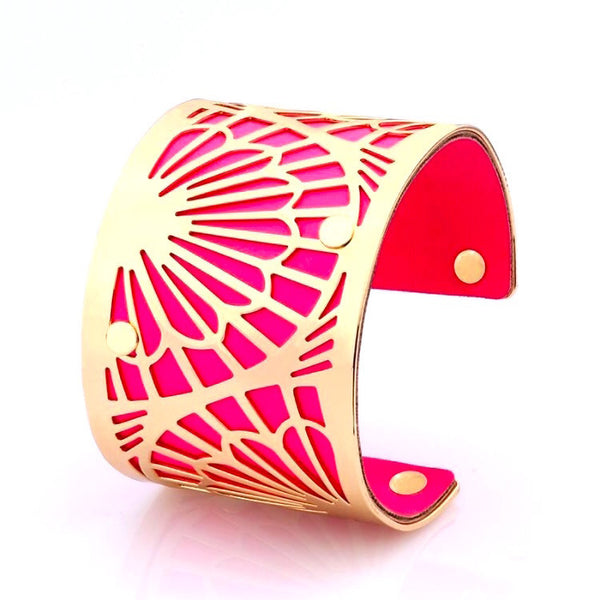 Lavish Cuff Oriental Leather & Metal Cuff Hot Pink