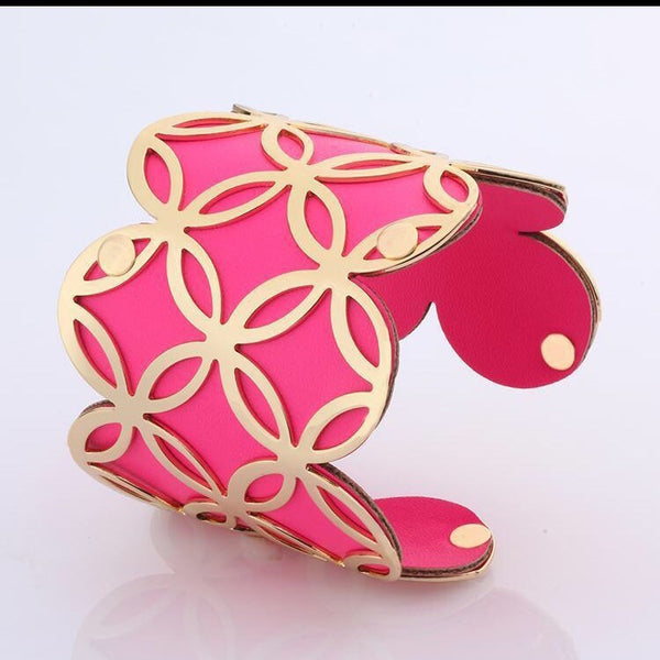 Lavish Scallop Leather & Metal Cuff Hot Pink