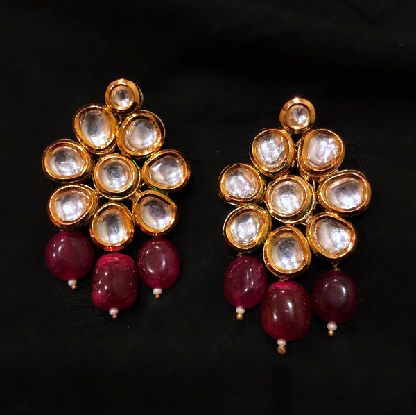 Maharani Kundan And Beaded Dangler Stud Earrings
