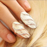 Metallic Waves Nail Ring Silver
