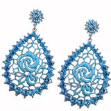 Mosaic Metal Rose Earrings Blue